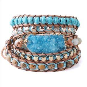 Jewelry - NEW, Druzy and Stones Leather Wrap Bracelet